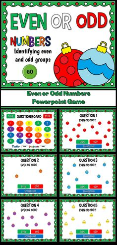 Practice identifying even or odd numbers with this fun Christmas games. Students must count the number of Christmas ornaments and determine whether that number is even or odd. There are 20 questions in all. Great for a guided math center or rainy day activity. Great for individual practice on the iPad! Extra licenses are $1.