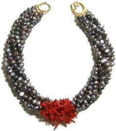 Helga Wagner Gray Fresh Water Pearls with Red Branch Coral Tiffany clasp.