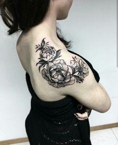 my first tattoo #peony #peonies #blackandwhite #tattoo #black #white #indastria #indastriatattoo