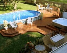 Swimming Pool Decks, Above Ground Swimming Pools, Swimming Pool Designs, In Ground Pools, Above Ground Pool Inground, Above Ground Pool Landscaping, Backyard Pool Landscaping, Backyard Patio Designs, Landscaping Ideas