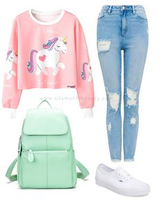 Twinkle Cute Unicorn Pink Long Sleeve Crop Top Pullover Shirt - Teen Shirts - Ideas of Teen Shirts - PRODUCT DETAILS Long sleeve pullover shirt White ribbing Unicorn graphic Rounded neckline Cotton & polyester Outfits 2016, Teen Fashion Outfits, Tween Fashion, Casual Outfits, Fashion Fall, Fashion Clothes, Hipster Fashion, School Fashion, Womens Fashion