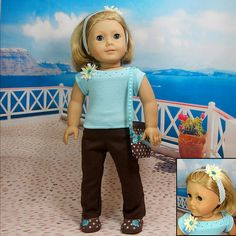 American Girl Doll Clothes Turquoise Brown Top by MegOrisDolls, $28.50