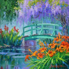Mikki Senkarik EMBRYO Original Oil Painting Monet Giverny Japanese Bridge GIFT
