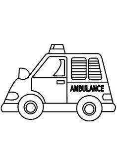 Coloriage d'une voiture d'ambulance apprêtée à sauver des vies