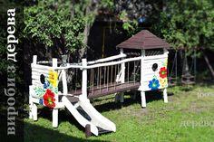 Детские игровые комплексы с росписью (площадки из дерева)