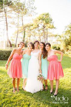 mariage au tir au vol arcachon dress code demoiselles d'honneur menthe corail ©Studio Happy to See Photographe Toulouse