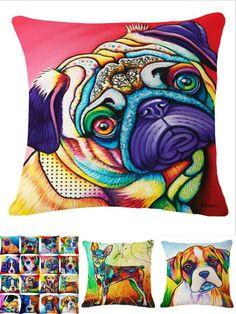 [Visit to Buy] French Bulldog Pug Dog Cushion Bull Terrier Cavalier King Charles Spaniel Pillow Cushion Cotton Linen Car Euro Pillow Decorative #Advertisement