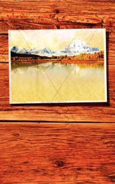 Church bulletin covers. A mountain lake with snow capped peaks is the image on this Fall bulletin cover. The trees are in full color and the picture is on a background of rich colored wood. Use this Church program template any time during the Fall and Winter seasons. #Sharefaith