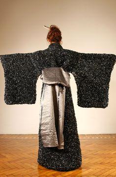 "Risada Panavija ~ ""Kimono"" (2012) A Japanese kimono made with old VHS tapes knitted via Behance"