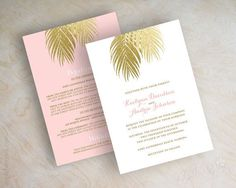 Beach wedding invitations, gold glitter palm leaf wedding invitation, pink and gold, faux glitter, blush, gold, tropical destination, Palms www.appleberryink.com