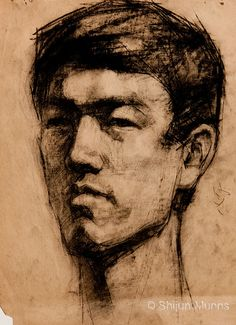 """Portrait Sketch 4"" Charcoal on paper 1983 © Shijun Munns"
