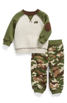Little Me Quilted Sweatshirt & Camo Print Pants (Baby Boys) (Online Exclusive) available at #Nordstrom