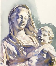 "Watercolor painting statue ""Madre Divina"" x Arches cold pressed paper -AVAILABLE - DM 🌟 Watercolor City, Watercolor Drawing, Watercolor Portraits, Painting & Drawing, Watercolor Paintings, Cartoon Drawings, Art Drawings, Watercolor Architecture, Art Graphique"
