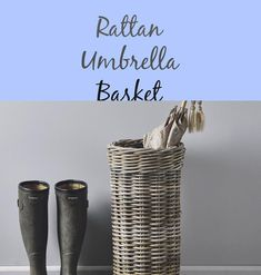 Rattan Umbrella Basket - #basket #rattan #umbrella British Family, Basket Decoration, Rattan, Pure Products, Ideas, Baskets Decorating With, Wicker, Thoughts