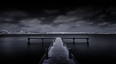 Kinda Blue ~ White Rock Lake Pier T1 http://mabrycampbell.com #image #photo #dallas #mabrycampbell #infrared #pier #whiterocklake #lake #monochrome #seascape #fineart #longexposure #texas