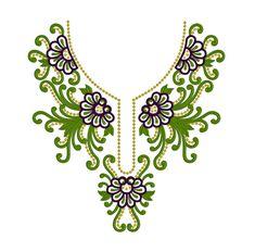 Machine Embroidery Design Green Neckline