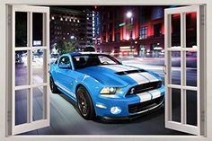 Mustang Shelby GT500 3D Window View Decal WALL STICKER Decor Art Mural Car H84 Huge -- Visit the image link more details.