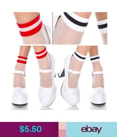1-4PC Sets Sheer Mesh Ankle Hi Acrylic Socks Striped Opaque Trim /& Toes Sets OS