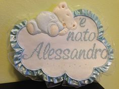 Fiocco nascita - Alessandro a punto croce con Gli Schemi di Natalia
