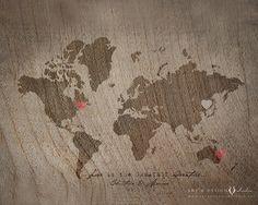 World Map Wedding Guestbook Alternative Custom Couple Gift Wedding Decor Wood Style Art Print