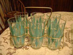 Hazel Atlas Drinking Glasses Mid Century Turquoise Diamond