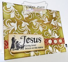 Paper craft project no. 65: Jesus - every knee bows at His name - featuring stamps in the DISTRESSED FLORAL SWIRLS and JESUS IS THE REASON sets (stamplorations.com)