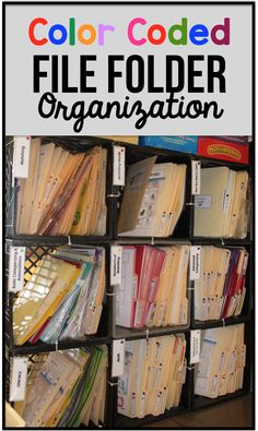 Color Coded File Folder Organization - The Autism Helper File Folder Organization, Game Organization, Classroom Organization, Organizing, Classroom Setup, File Folder Activities, File Folder Games, File Folders, Autism Classroom