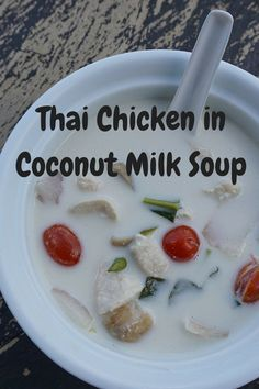 Tom Kha Gai Chicken in Coconut Soup Recipe. This coconut milk based Thai soup is creamy and slightly spicy. It can easily be adapted into a vegetarian Thai soup by omitting the chicken and adding more vegetables. This could become your favorite comfort food in a bowl! @venturists