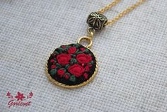 Embroidered Pendant Red roses Embroidered necklace Floral jewellery Red and black Gift For Women Hand embroidery Antique embroidery Rococo