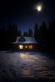 thisrusticlife: How we spent our Christmas (by calakmul) In A CHRISTMAS PROMISE by Zina Abbott, now available from Prairie Rose Publications, Annie and her two children live with the Claytons in their Wyoming ranch house. Winter Szenen, Winter Cabin, Winter Love, Cozy Cabin, Winter Night, Winter Christmas, Snow Night, Night Night, Winter Trees