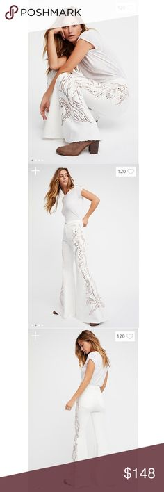 Free People Float On Embellished Flare Printed high-rise flares embellished with bead detailing along the side.  • Authentic stretch • Flat front and back pockets • Back seam detailing on the knee • Raw hem • Button closure and zip fly  *53% Cotton *23% Rayon *22% Polyester *2% Spandex *Machine Wash Cold *Import Free People Jeans Flare & Wide Leg