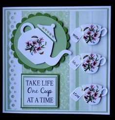 Hand made Birthday card using SU Cups & Kettles framelits. Cute Cards, Diy Cards, Coffee Cards, Marianne Design, Mothers Day Cards, Card Making Inspiration, Creative Cards, Greeting Cards Handmade, Scrapbook Cards