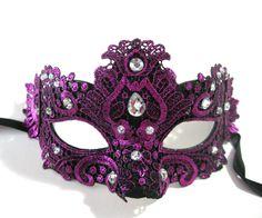 Purple Lace Jeweled Venetian Sexy Woman Mardi Gras Adult Costume Party Mask