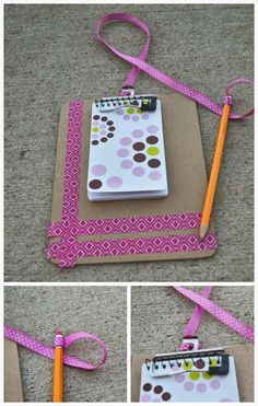 Mini Clipboard - decorate it with washi tape and attach a pencil with a ribbon so you can't lose it. You could add a strong magnet on the back and hang it in your locker.  This clipboard was actually part of an adorable DIY project for a child, a pretend play doctor kit.