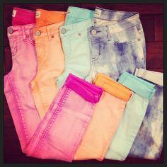 Aeropostale colorful denim jeans.