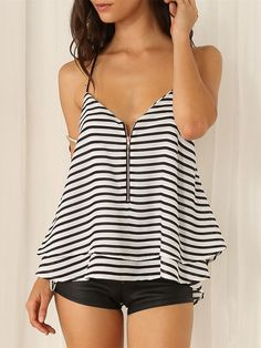 Sexy Backless V-neck Double-layer Hem Striped Cami Tops Striped Cami Tops, Striped Tank, Tank Top Shirt, Tank Tops, Clothing Co, Cute Tops, Shirt Blouses, Camisole Top, Cute Outfits