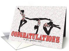 Gymnastics Recital Congratulations - Peach and Charcoal card