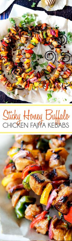 Easy Sticky Honey Buffalo Chicken Fajita Kebabs marinated and doused in the most tantalizing sweet heat sauce. One sauce, TONS of flavor. #kebabs #buffalo #honey #grill