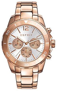 Esprit Chronograph Haylee in Roségold - Trendy Watches, Casual Watches, Cool Watches, Watches For Men, Watch Model, Silver Man, Stainless Steel Case, Michael Kors Watch, Gold Watch