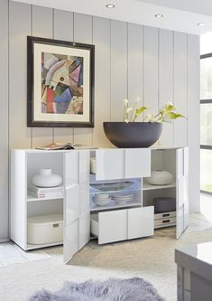 Treviso Sideboard - Two Doors/Two Drawers High Gloss White Finish High Gloss White, Furnishings, Long White Sideboard, Sideboard, Drawers, Furniture, White Finish, White Sideboard, Long Sideboards