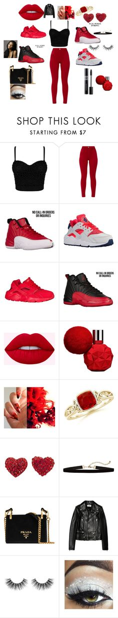 """red is so cute"" by naemonique20 on Polyvore featuring NIKE, Prada, Yves Saint Laurent, Velour Lashes, Christian Dior and red"