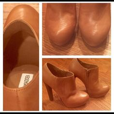 These are stunning shoes. These 4 inch platform Steve Madden booties are tan. They have hardly been worn, they have no stains and are in great condition. Shoes says 6.5 but it fits like a 6. Steve Madden Shoes Ankle Boots & Booties