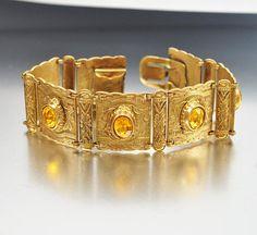 Gold Czech Art Deco Bracelet Amber Rhinestone Vintage Art Deco Jewelry