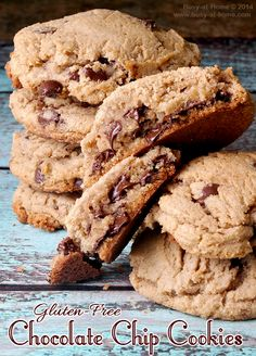 how to make soft and chewy gluten-free chocolate chip cookies #recipe   Busy-at-Home