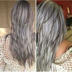 Hair Beauty - dark hair with heavy platinum highlights perfect when you're going grey page HairHighlights Long Gray Hair, Silver Grey Hair, Dark Hair, Thick Hair, Haircuts For Long Hair, Long Hair Cuts, Gray Hair Highlights, Platinum Highlights, Highlights Underneath