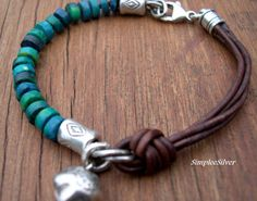 Rustic Turquoise Leather Bracelet  -  Casual Bell Charm Bracelet  -  Sundance Style Jewelry