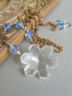The Bentley necklace - vintage Swarovksi crystal, brass and sterling silver longline necklace << named for one of the earliest photographers of snowflakes - Wilson Bentley