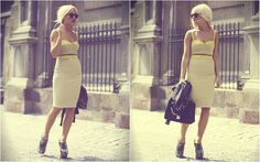 Yellow summer suit and Angelica Blick