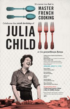 Announcing Knopf's Julia Child birthday celebration with food, tributes, trivia, and prizes! Bring a Julia Child-inspired baked-good and be entered the chance to win a fabulous prize package! Design Poster, Graphic Design Branding, Typography Design, Layout Design, Design Art, Print Design, Julia Child Book, Julia Childs, Book Libros