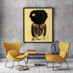 Canvas art that speaks to every aspect of the natural crown. #NaturalHair  Black Art Painting, Black Wall Art, Black Artwork, Modern Wall Art, Sexy Painting, African American Artwork, African Art, African American Women, L'art Du Portrait